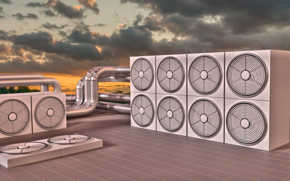 Exhaust Fans on roof at sunset
